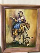Mid Century Oil Painting On Board Indian Women Sitting On Donkey 1958 Signed Gw