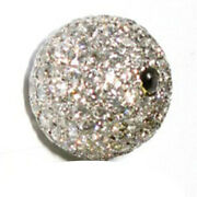 Pave Diamond Bead Spacer 18k White Gold Handmade Finding Jewelry 10x10mm