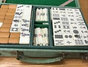 Mahjong Tiles With Flower Tiles Case Traditional Board Games Used Item Vintage