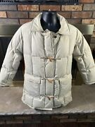 Vintage Orvis Womenandrsquos Tan Goose Down Fill Heavy Winter Parka Trench Coat Jacket