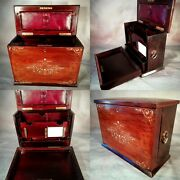 Stationary Writing Slope Correspondence Cabinet Antique Victorian Vintage Box