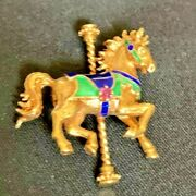 Faberge Bright 14k Yellow Gold Carousel Horse Pin Brooch Colorfully Enameled