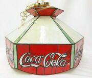 Vintage Coca Cola Stained Glass Style Hanging Lamp Bar Pool Table Tf