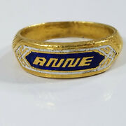 Vintage 22k Gold Chinese Enamel Name Ring Anne 11.1grams Size 10