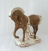"""Vintage 12"""" Tall Glazed Ceramic Signed Horse Equestrian Figure Brown White"""