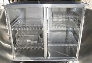 Clean Stainless Steel 2 Door Closed Case Rolling Medical Cart W/ Shelving