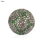 Pave Diamond Tsavorite Sterling Silver Spacer Bead Ball Finding Making Jewelry