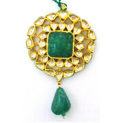 Solid 18kt Yellow Gold Carved Emerald Diamond Indian Ethnic Jewelry For Women