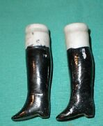 Antique Lower Legs Glazed Porcelain Black Boots 1.95 Doll Making And Repair