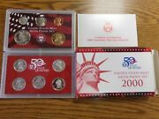 Us Mint 2000 50 State Quarters Silver Proof Set 10 Coins Total Box And Coa
