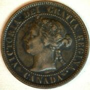 1884 Copper Canadian Large Cent One Cent Coin Very Fine 20