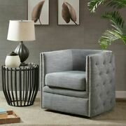 Luxury Slate Swivel Chair W/silver Nail Heads And Solid Wood Frame