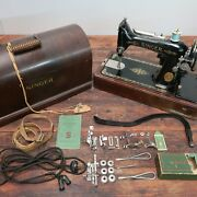 Singer Sewing Machine Model 99-13 With Case And Key + Many Extra Original Parts