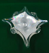 Vintage Arte Murano Iredescent Mother Of Pearl Blown Glass Dish Made In Italy
