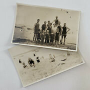 Antique Rppc Real Photograph Postcard Pair 2 Swimming Beach Lake Swimsuits