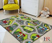 Kids Car Road Rugs City Map Play Mat For Classroom/baby Room Non-slip Rubber...