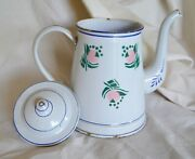 Vintage French Enamelware Pitcher Or Jug With Lid, Art Deco Pattern