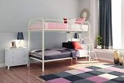 Dhp Twin-over-twin Bunk Bed With Metal Frame And Ladder, Space-saving Design, B