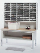 Office Mail Sorter, Office Mailroom Station Organizer, Pebble Gray W/ Birch Wood