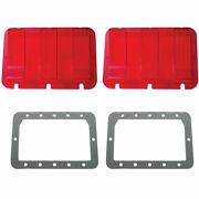 2 Tail Light Lenses W/ Gray Foam Gaskets Compatible With Ford Mustang 1967-68