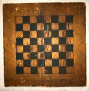 1872 Dated Antique Primitive Hand Painted Wood Game Board Signed Frank E. Badger