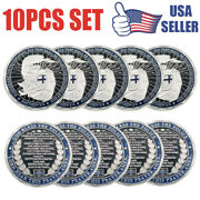 10pc Police A Thin Blue Line Guardian Angel Blessed Prayer Emblem Challenge Coin