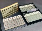 Mahjong Tiles Clear Type With Flower Tiles Case Traditional Board Games Vintage