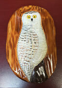 Carved Snowy Owl Plaque By Carl Christiansen, Signed And Named Fish Decoy