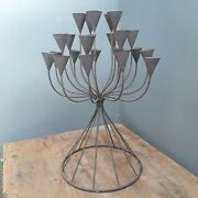 Large Italian Hand Made Cast Iron Centerpiece Candle Holder