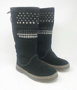 Bearpaw - Women's Black Studded Lace Up Tall Fur Snow Boots - Size 7