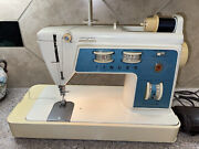 Vtg Blue Singer Touch And Sew Sewing Machine Special Zig Zag Model 756 Quilting