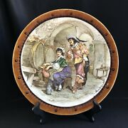 """Antique French Majolica H. Boulenger B And Cie Charger Pirate Signed 13""""d Rum"""