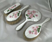 Vintage Silver And Enamelled Dressing Table Set C And A London 1957 Aezx