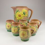 Roseville Pottery Peony Ice Lip Pitcher/6 Mug Set, Shapes 1326 And 2, Coral Pink