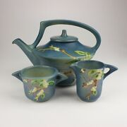 Roseville Pottery Snowberry Tea Set Shapes 1t 1c And 1s Persian Blue