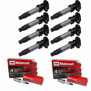 Uf543 Ignition Coil + Spark Plugs For Cadillac Srx Dts Sts Buick Lucerne Xlr