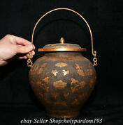 8 Collect Old Chinese Copper Gilt Dynasty Flower Pattern Portable Kettle