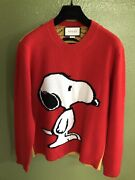 100 Authentic Peanuts Snoopy Tiger Stripes Red Wool Sweater Size L