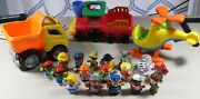 Fisher Price Little People Talking Helicopter, Dump Truck And Zoo Train W/ Figures