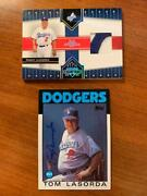 Tommy Lasorda Signed Auto 1986 Topps + 2005 Donruss Jersey Patch Dodgers