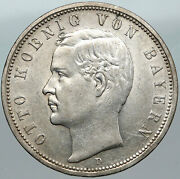 1918 Germany Bavaria Ruled By Otto I W Eagle Antique Silver 5 Marks Coin I88392