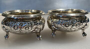 Rare Antique Charters Cann And Dunn Nyc 19th C. Repousse Footed Open Salt Cellars
