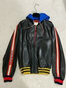 Brand New Black Leather Bomber Jacket Beige Size 48 Rrp Andpound2880