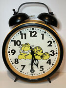 Oversized Vintage Sunbeam Garfield 1978 Yellow Hands And Dial Alarm Clock Works
