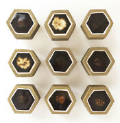 Vintage 1970s Mid-century Brass And Brown Ceramic Drawer Pulls Knobs, Set Of 9