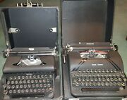 Lot Of 2 Antique Typewriters With Carry Cases Black