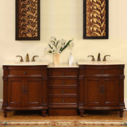 Silkroad Exclusive Hyp-0205-cm-uic-80 Marble Double Sink Bathroom Vanity With Ch