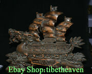 19.6 Old Chinese Boxwood Hand Carving Feng Shui Dragon Boat Luck Sculpture