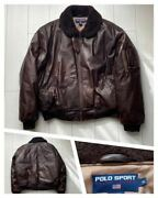 Used 90s Polo Sport Leather Down Jacket Collar Boa G-1 Flight Xl