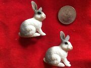 Lot Of 2 Schleich White And Grey Rabbits Sitting, 13673, Retired
